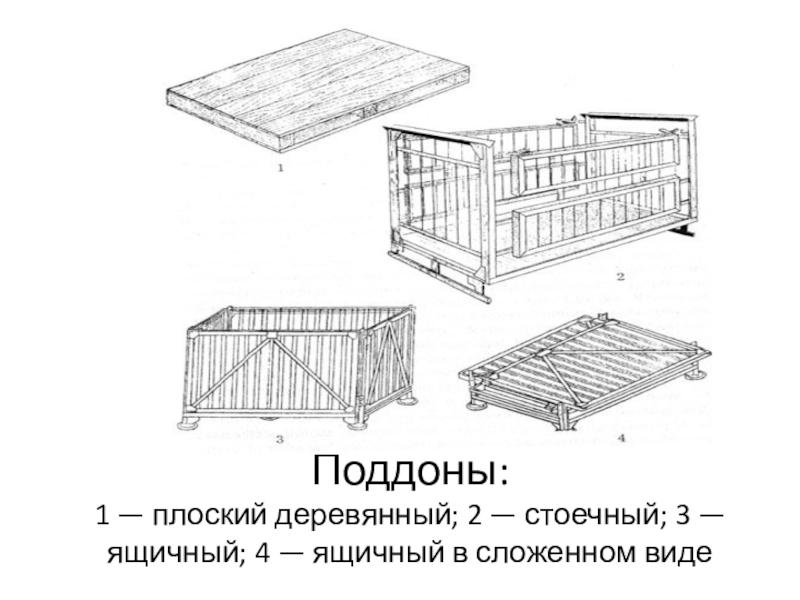 Поддоны: 1 — плоский деревянный; 2 —
